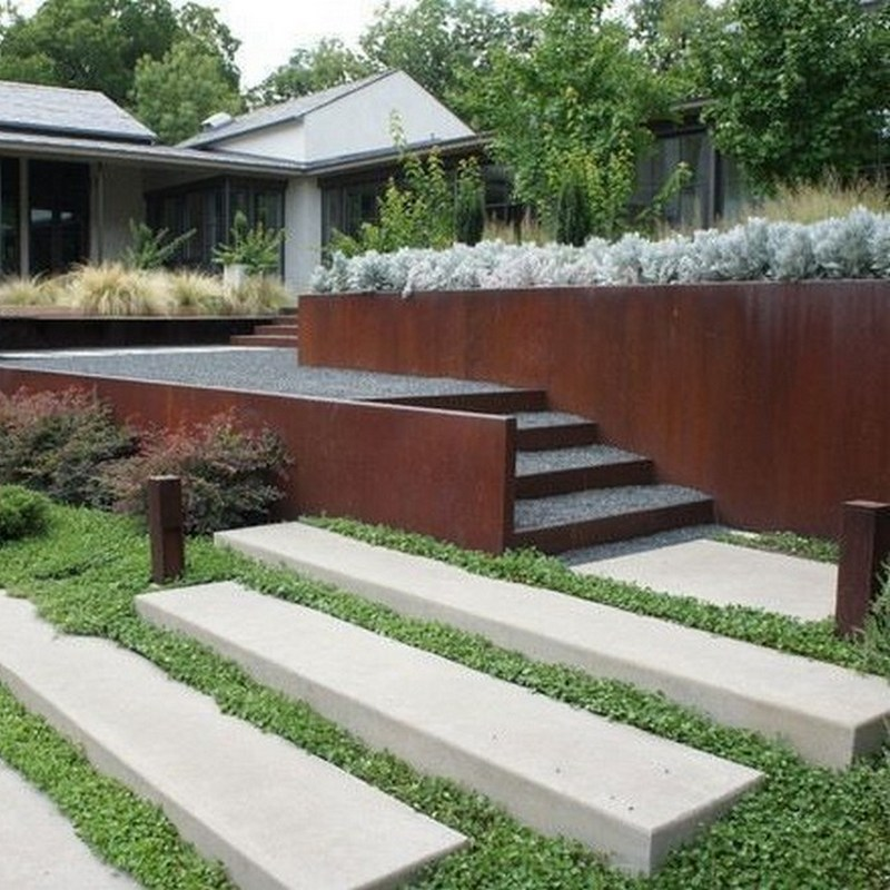 corten terraced retaining wall, and steps