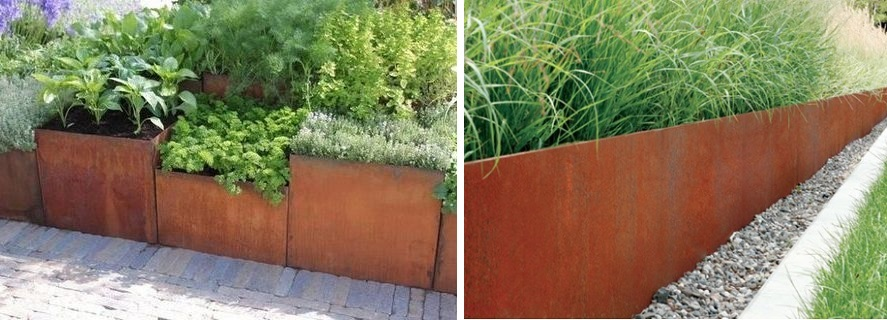 retaing wall medium made with corten steel