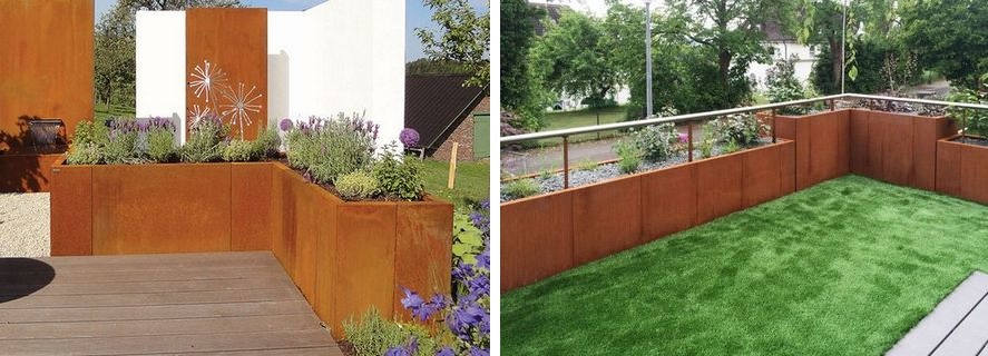 retaining walls made from corten steel